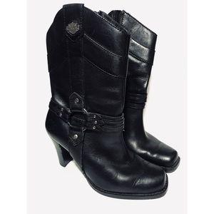 Harley-Davidson Square Tie Heeled Boots Sz. 6.5